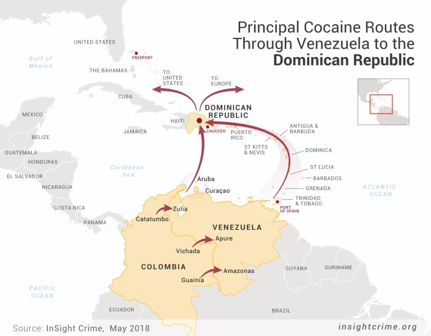 14-05-18-Principal-Routes-Trought-Venezuela-to-dominican-Republic-Venezuela-Estado-Mafia-Map-InSight-Crime